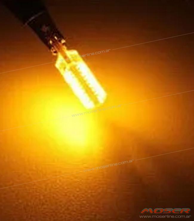 LED T10 Gel Largo Ambar 12v 6 LED - Imagen 2