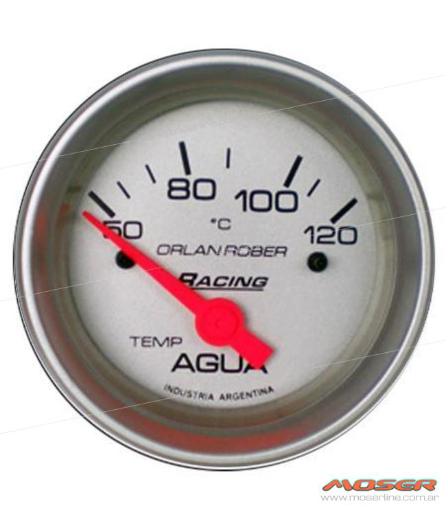 Temp. agua elect 12v 120°c racing plata - Imagen 1