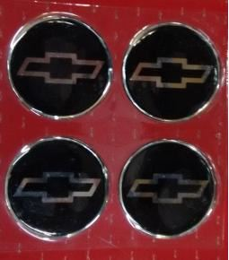 Centros de llanta Chevrolet fondo negro 49mm en resina