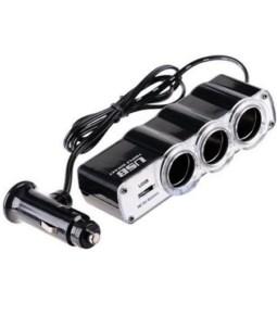 Cargador triple hembra encendedor mas USB
