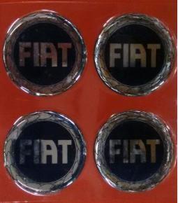 Centros de llanta Fiat fondo azul 49mm en resina