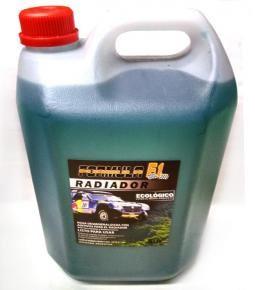 Bidón 5L. agua destilada con aditivos para el radiador verde