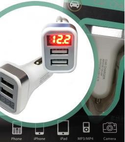 Cargador USB Doble con Voltimetro Digital e Indicador de Consumo