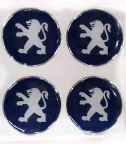 Centros de llanta Peugeot fondo azul 49mm en resina