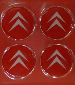Centros de llanta Citroen fondo rojo 49mm en resina