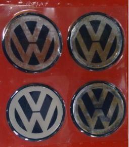Centros de llanta Volkswagen fondo azul 49mm en resina