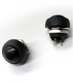 Botón Pulsador Mini Redondo Negro