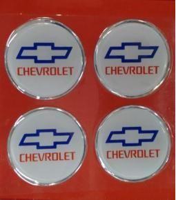 Centros de llanta Chevrolet fondo blanco 49mm en resina