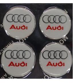 Centros de llanta Audi fondo blanco 49mm en resina