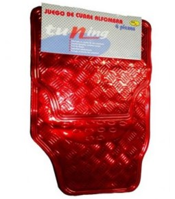 Cubre alfombra simil aluminio roja 4 pzs.