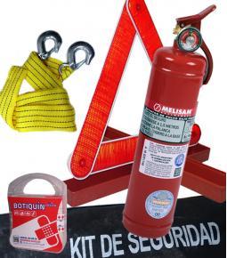 Kit de Seguridad Reglamentario (Matafuego, jgo. de balizas, Slinga de remolque y botiq.)