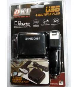 Cargador USB + 2 toma encendedor