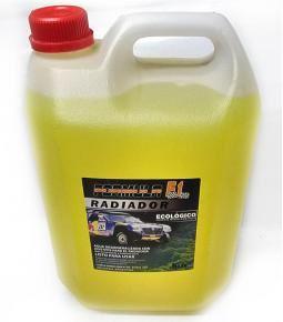 Bidón 5L. agua destilada con aditivos para el radiador amarillo
