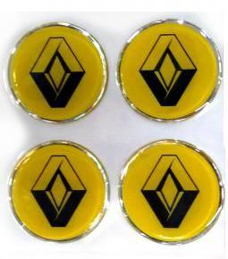 Centros de llanta Renault fondo amarillo 49mm en resina