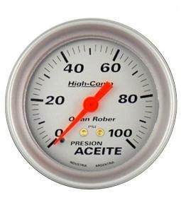 Manómetro de aceite mecánico plata linea High Comp 66mm