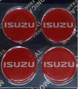 Centros de llanta Isuzu roja 49mm en resina
