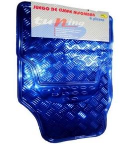 Cubre alfombra simil aluminio azul 4 pzs.