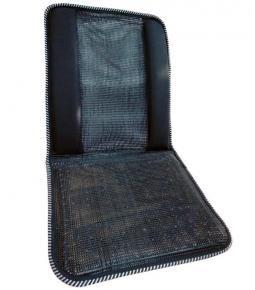 Sobre asiento y respaldo de alambre con riñonera